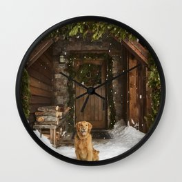 Dog and snow Wall Clock