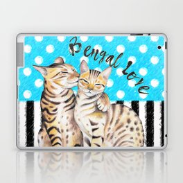 Bengal Cats Polka Dot Watercolor Love Laptop & iPad Skin