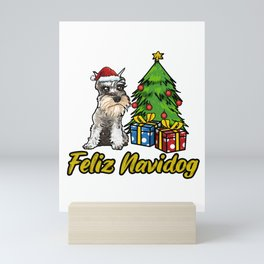 Feliz Navidog Schnauzer Christmas Gift Mini Art Print