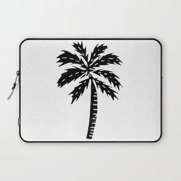 Palm Tree linocut minimal tropical black and white statement piece Laptop Sleeve
