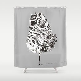Fantasy Tree in black and white Shower Curtain