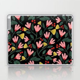 Pink Floral Pattern on Black Laptop & iPad Skin