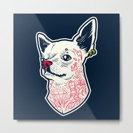 Funny Hipster Style Good Boy Dog Lover Tattoo Covered Chihuahua Metal Print