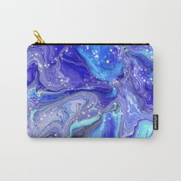 Blue, Lilac, Aqua Liquid Marble With Glitter Stars Carry-All Pouch