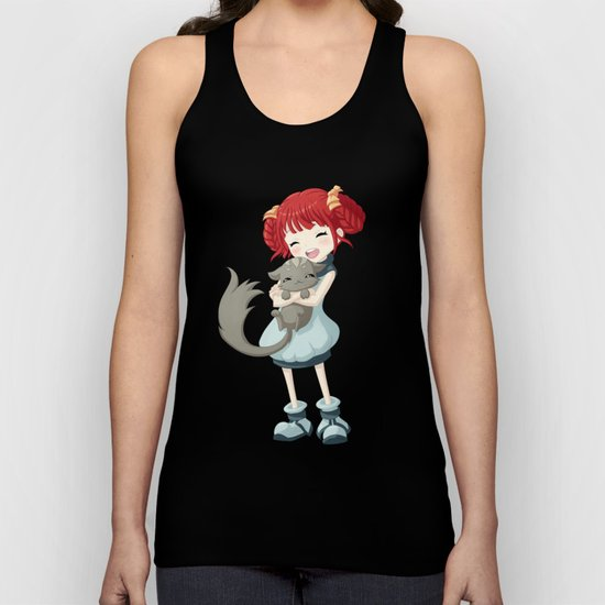 Girl and a Cat Unisex Tank Top