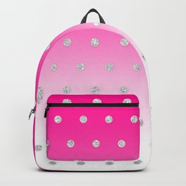 Girly Modern Glitter Polka Dots Neon Pink Ombre Backpack