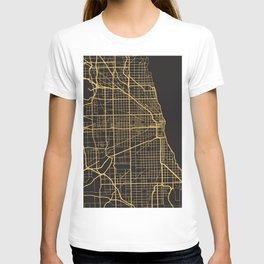 CHICAGO ILLINOIS GOLD ON BLACK CITY MAP T-shirt