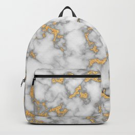 White Marble with Gold Dust Backpack
