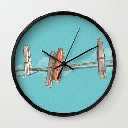 Boho Clothespin Wall Clock
