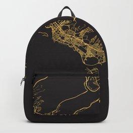 HONOLULU HAWAII GOLD ON BLACK CITY MAP Backpack