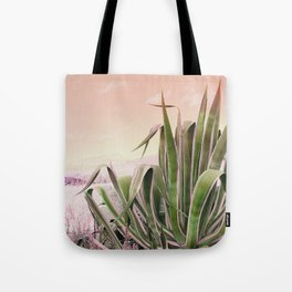 Agave in the Garden on Pastel Coral Tote Bag