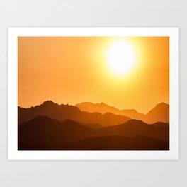 Orange Monochromatic Mountain Landscape Parallax Silhouette Yellow Orange Sunset Hues Art Print