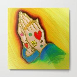 Praying Hands Painting Metal Print