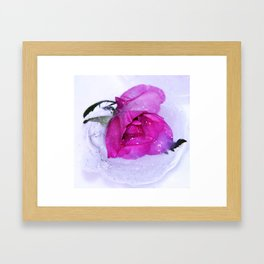 Frozen floating roses Framed Art Print