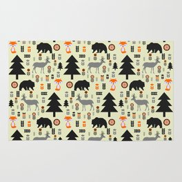 Winter bears, foxes and deer Rug