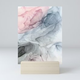Pastel Blush, Grey and Blue Ink Clouds Painting Mini Art Print