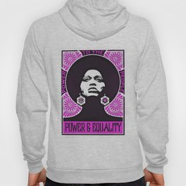 Angela Davis - Power & Equality - Power to the People Pink African American Vintage Poster Hoody