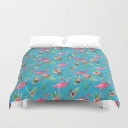 Pink Flamingo Tropical garden paradise Duvet Cover