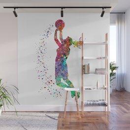 Basketball Girl Player Sports Art Print Wall Mural