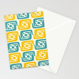Mid Century Modern Galaxy Pattern 131 Yellow and Turquoise Stationery Cards