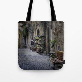 Woman Watering Flowers, Orvieto, Italy Tote Bag