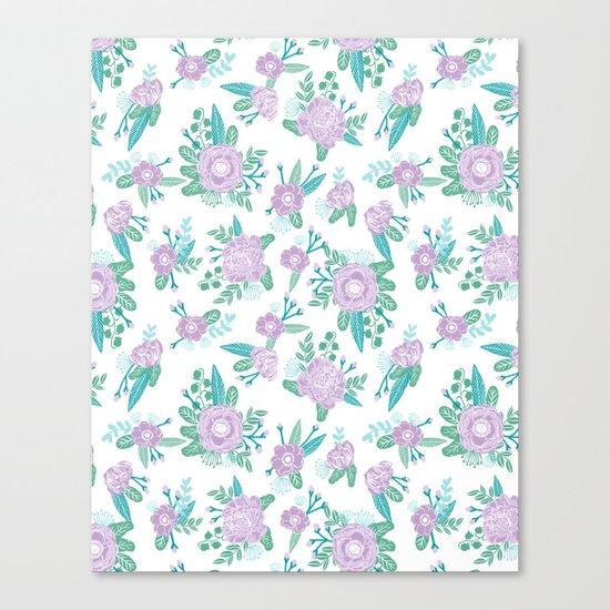 Floral bouquet pastel mint lilac florals painted painted pattern basic minimal pattern print Canvas Print