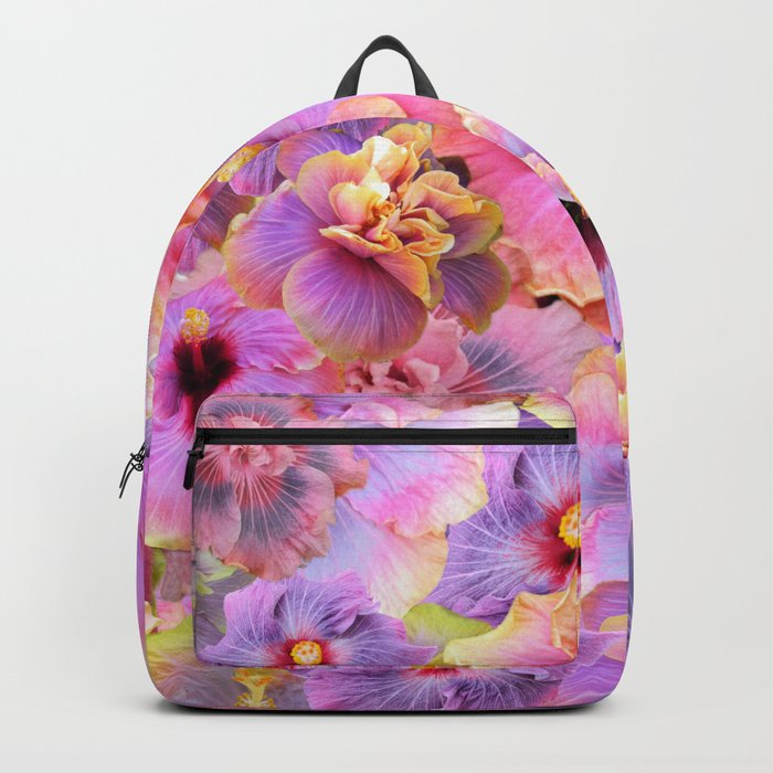 Tropical hibiscus patterns Flower Floral Flowers Backpack