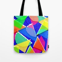 80s Tote Bags featuring 80s shapes by Sarah Bagshaw