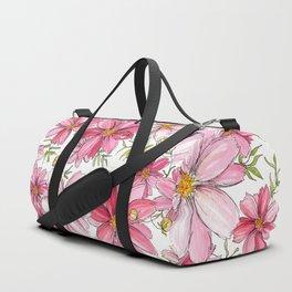 Pink Floral Pattern Duffle Bag