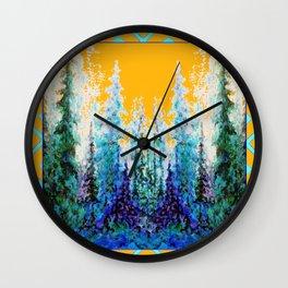 Western Gold  Modern Art Mountain Trees Blue  Art Wall Clock