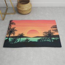 Tropical Beach Dawn illustration Rug