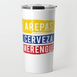 Arepas Cerveza Merengue print Gift with a Colombian flag Travel Mug