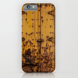 Rusting Yellow Boxcar Door Train Rolling Stock Railroad Texture iPhone Case