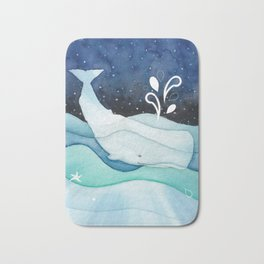 Whale Goes For A Night Swim Bath Mat