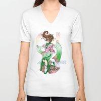 sailor jupiter V-neck T-shirts featuring Sailor Jupiter by Sophira-lou