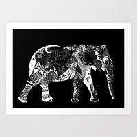 Pattern Elephant Art Print