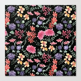Bright flowers on a black background. Canvas Print