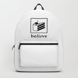 Believe in the Cake (black text) Backpack