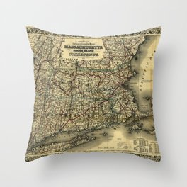 Vintage Map of Southern New England: Connecticut, Rhode Island, and Massachusetts Throw Pillow