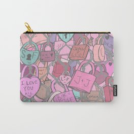 Love Locks Fence in Rose Champagne Carry-All Pouch
