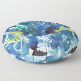 Blue Abstract Mixed-Media: Water Floor Pillow