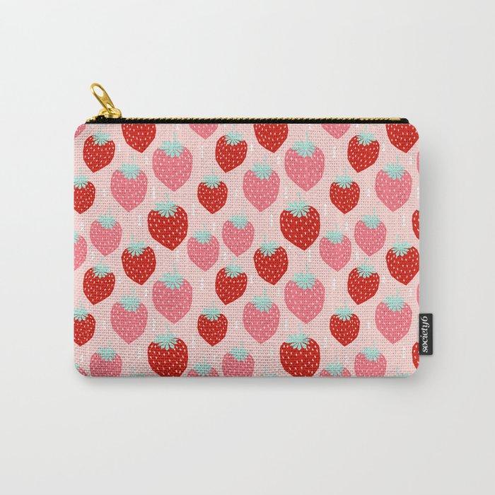 strawberries print pattern modern bright happy fun fruit berry summer fresh happy design gardener Carry-All Pouch