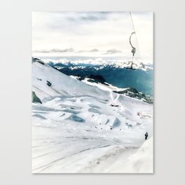 Snowy life on slope under T-bar lifts Canvas Print