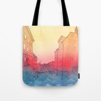 stockholm Tote Bags featuring Stockholm by Jonas Ericson
