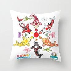 Kawaii Koi Lotus Mandala Throw Pillow