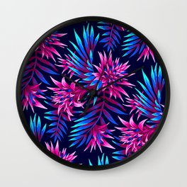 Aechmea Fasciata - Dark Blue/Pink Wall Clock