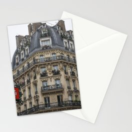 Paris architecture and Red Metro Sign Stationery Cards
