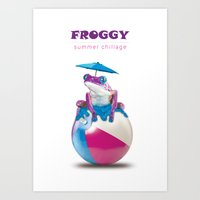 Frog chill out Art Print