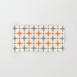 Mid Century Modern Star Pattern Grey and Orange Hand & Bath Towel