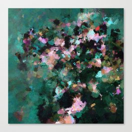 Contemporary Abstract Wall Art in Green / Teal Color Canvas Print